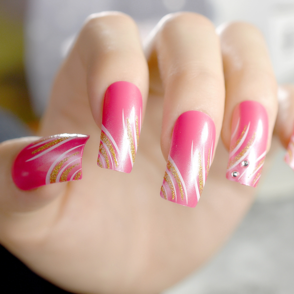 Pink Rose False Nails Gold Glitter Square Head Fake Nail Long Size ...