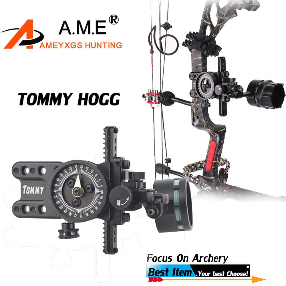 1 pz Tommy Hogg Nero Singolo Spilli Ago Singolo Sight Alluminio Puntatore Regolabile Esterno Per Tiro con L'arco Attrezzature Accessori