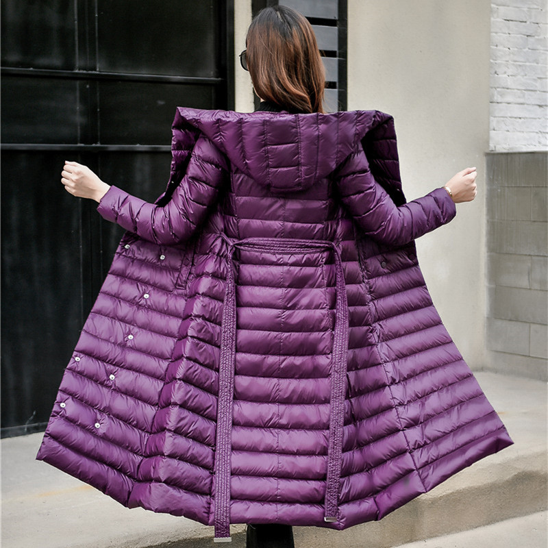 2018   Down   Jacket Female Vintage A line Overcoat Ultralight Winter   Down     Coat   Women Long Warm Parka With Belt