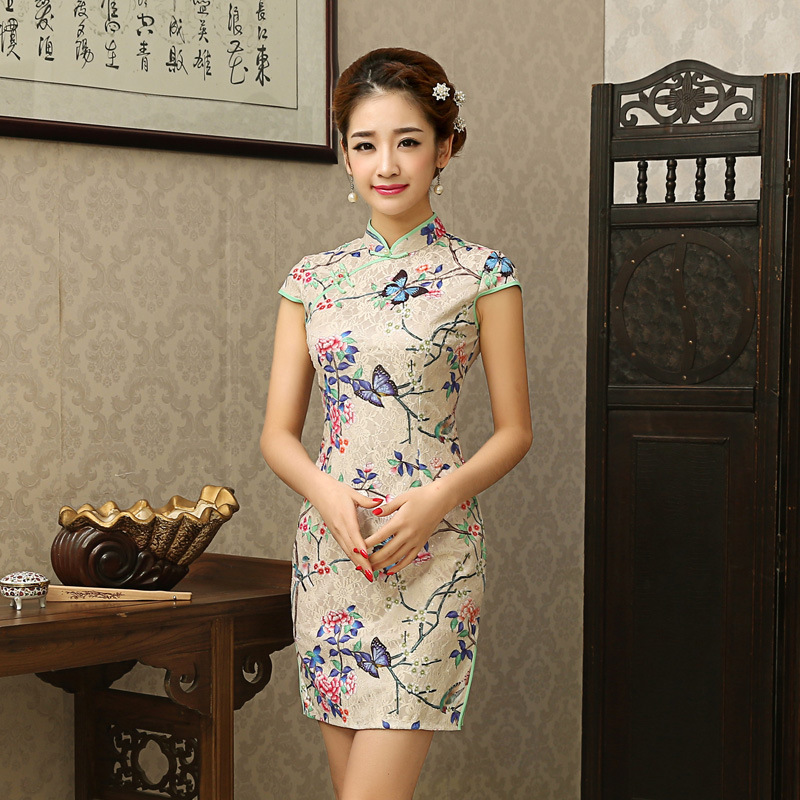Новое поступление женское платье Cheongsam Silm LaceChi pao винтажное вечернее платье с цветочным рисунком китайское платье Китайский халат Бесплатна