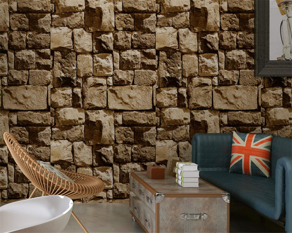 Beibehang Culture stone wallpaper 3D stereo retro nostalgia  brick wallpaper bar background wall paper home decor papel parede culture of professionalism paper