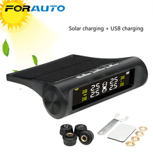 FORAUTO Car TPMS Tyre Pressure Monitoring System Digital LCD Display Auto Security Alarm Systems Tyre Pressure Solar Power