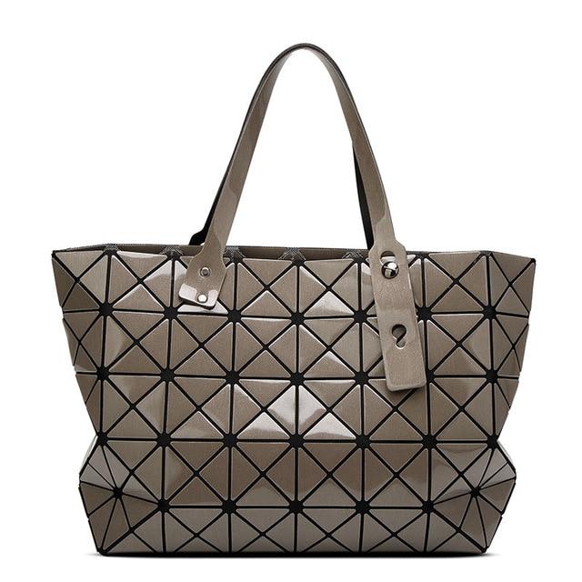 Hot Laser Bag Women Plaid Tote Casual Bags Female Fashion Handbags Sequins Mirror Saser