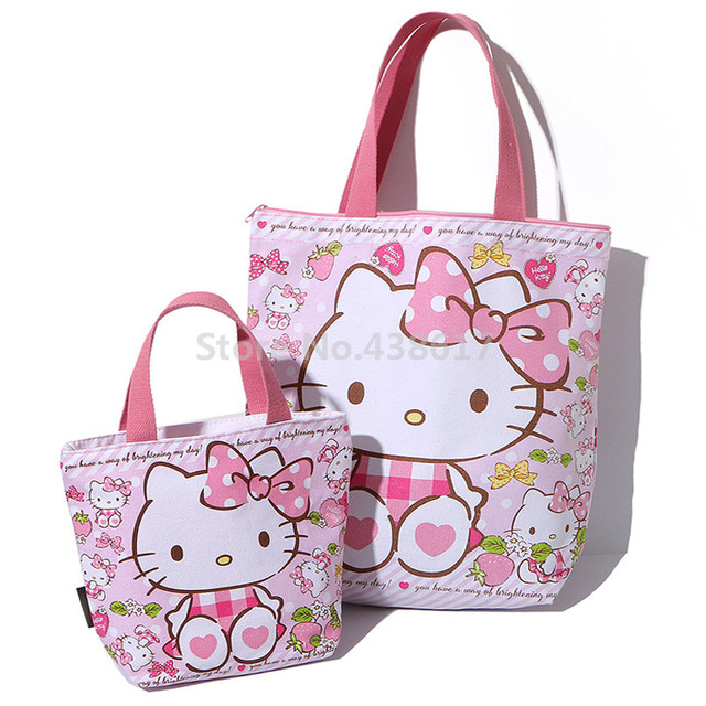 2a28289dd Lindo bolso de hombro de lona de Hello Kitty gato Rosa bolso de mano bolsas  de
