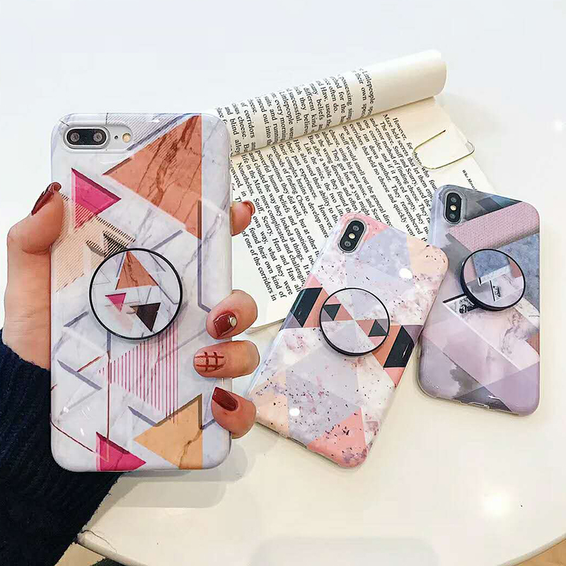 Geometric Marble Pattern Kickstand Phone Case For iPhone XS Max XR X 6 6S 7 8 Plus Fashion IMD Soft Protective Back Cover Coque (11)