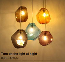 Simple lamp Stone glass pendant lights colorful indoor lighting The restaurant dining room bar shores G5.3 LED light Fixture(China)