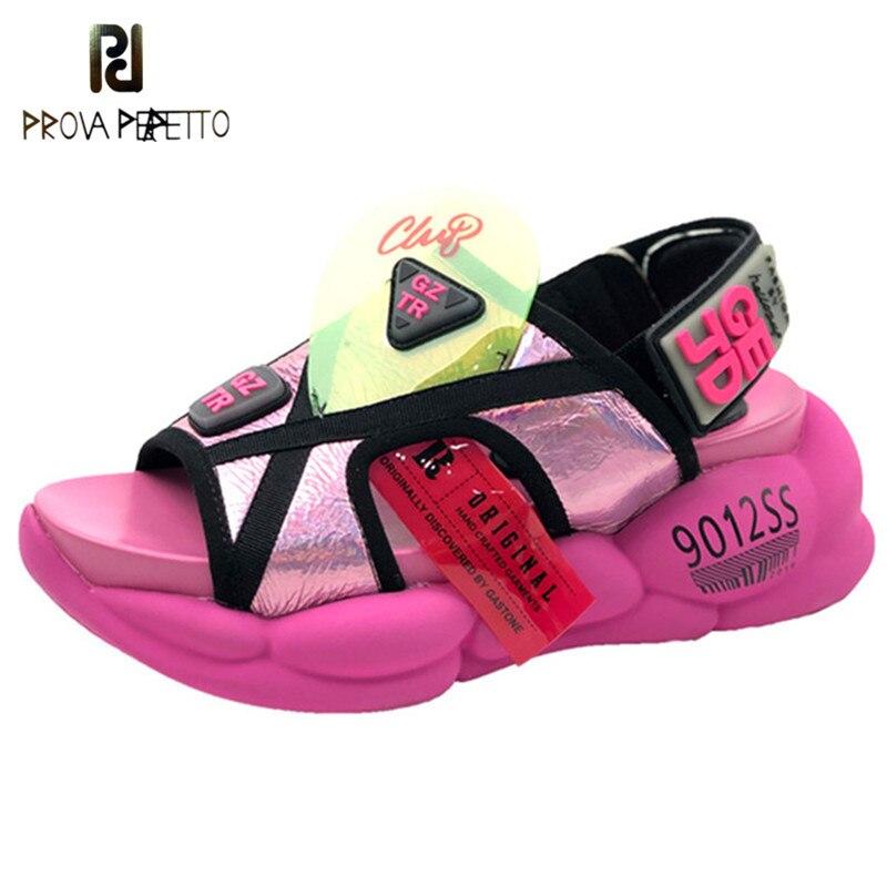 Prova Perfetto PVC Mixed Farbe Keile Sandalen Casual frauen Schuhe Aus Echtem Leder Peep Toe Hohe Plattform Alias Mujer 2019-in Mittlere Absätze aus Schuhe bei  Gruppe 1