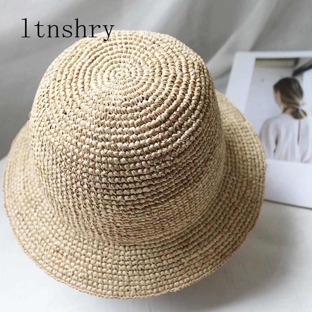 Hand Made Summer Hats For Women Straw Sun Hat Bucket Cap Raffia Lady Girls Panama Beach Hats Floppy Female Travel Folding Cap