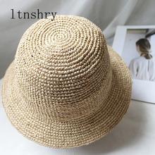 Ręcznie wykonane kapelusze letnie dla kobiet słomy kapelusz słońce kapelusz wędkarski rafia Lady dziewczyny Panama kapelusze plażowe Floppy kobiet podróży czapka składana tanie tanio ltnshry Dla dorosłych Kobiety Sun kapelusze Na co dzień Stałe hats for women 56-58cm