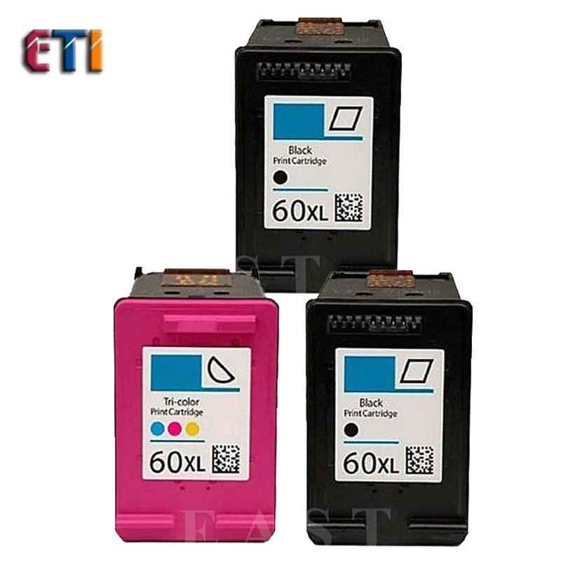 ФОТО Free shipping Compatible ink cartridge For HP 60XL BK CC641WN and For  HP60XL C4635 color CC644WN C4640 C4650 C4680 printe
