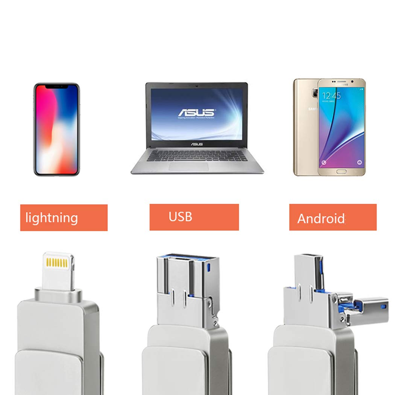 USB 3.0 Flash Drives for iPhone 3 in 1 OTG Jump Drive, External Micro USB Memory Storage Pen Drive for iPad, iOS, Android, PC-in USB Flash Drives from Computer & Office    2