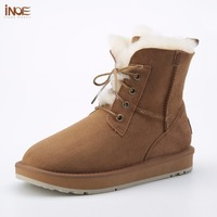 INOE New Style Fashion Genuine Sheepskin Leather Fur Lined Women Ankle Winter Snow Boots For Ladies