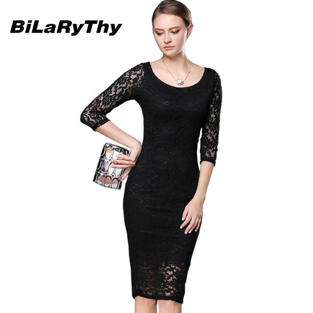 Women Black Lace Autumn Dress Ladies Three Quarter Pencil Wrap Celebrity Elegant Midi Bodycon Party Bandage Dresses Plus Size