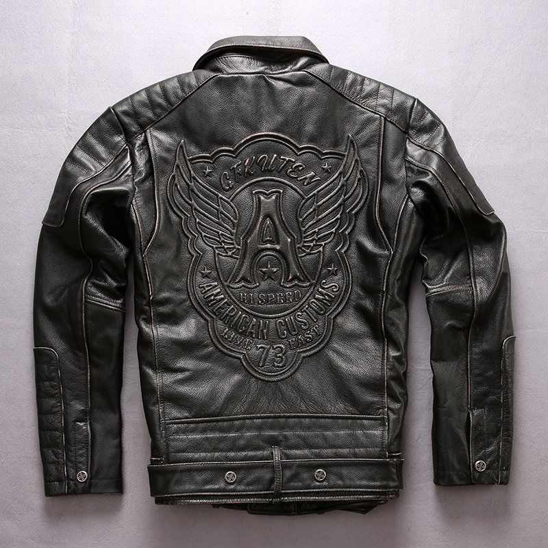 2018 Vintage Black Men Leather Motorcycle Jacket Diagonal Zipper Plus Size 4XL Slim Fit Cowhide Biker Leather Coat FREE SHIPPING