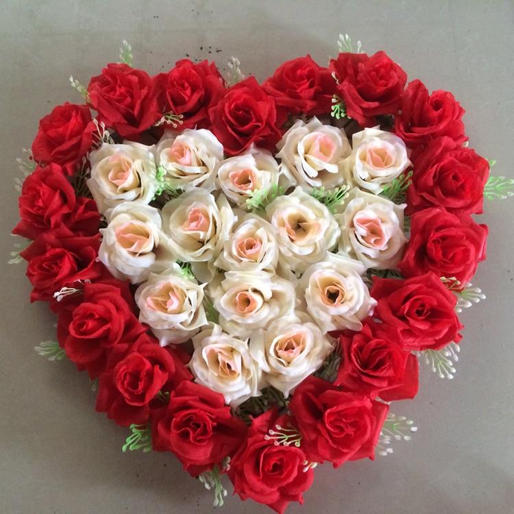 14colors 40cm 40cm Lovely Heart Shape Rose Flowers For Wedding Car