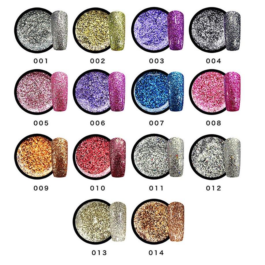 ISHOWTIENDA nagellak 8ML UV Gel Nail Glue glitter liquidifica Symphony Lasting 14 Color holographic gel nail polish regular nail