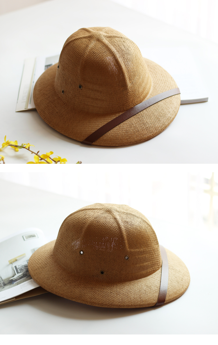 cd6b8d1d7 US $17.41 35% OFF|Novelty Toquilla Straw Helmet Pith Sun Hats for Men  Vietnam War Army Hat Dad Boater Bucket Hats Safari Jungle Miners Cap B  8268-in ...
