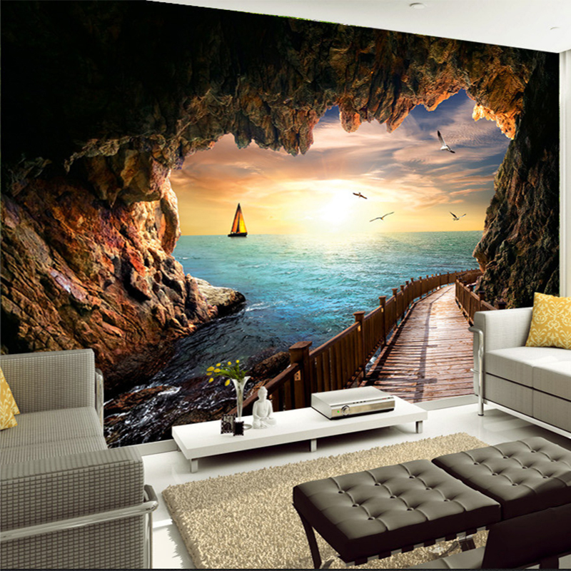 Personalized Customization 3D Wall Cloth Modern Sunset Cave Seaside Landscape Wallcloth Wallpaper Living Room Wall Covering Roll