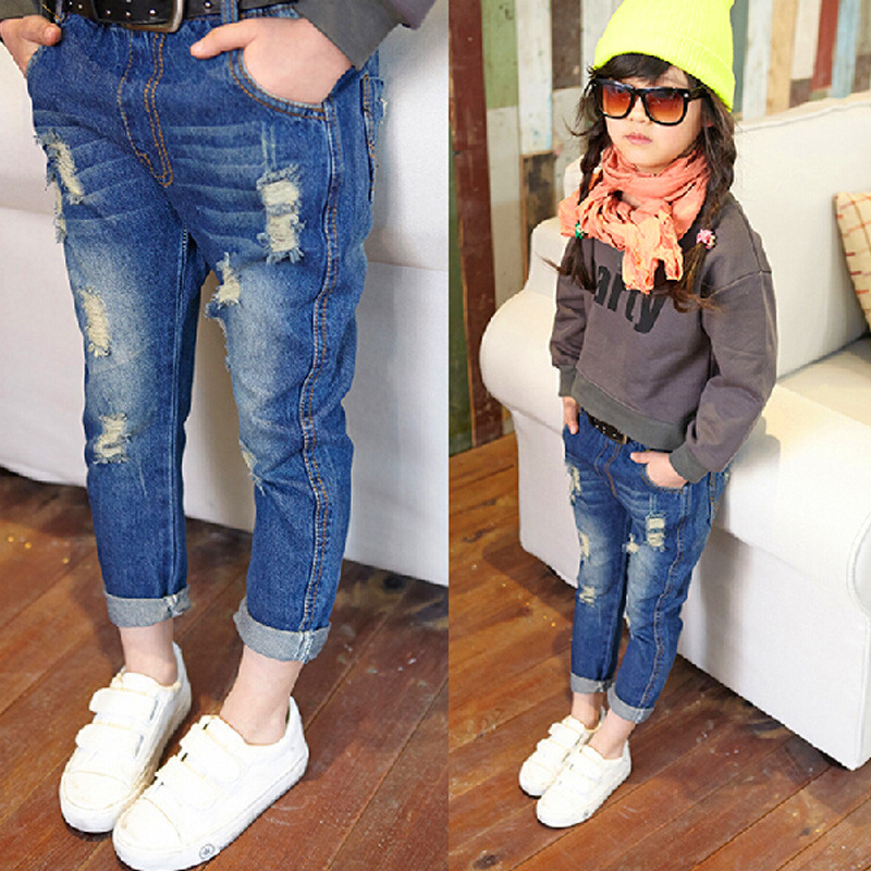 2017 Fashion Girls Jeans Pants For Baby Kids Ripped Jeans Children Hollow out Solid Denim Trousers New Holes Girls Torn Jeans
