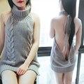 2017 Новая Мода Япония Высокая Шея Свитера Для Женщин Сексуальная спинки Кружева Virgin Killer Свитер Платье Жилет Femme Манш Longue