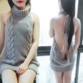 2017 New Fashion Japan High Neck Sweaters For Women Sexy Backless Lace Up Virgin Killer Sweater Dress Gilet Femme Manche Longue