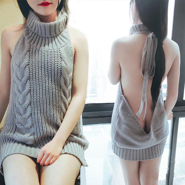 2017 Nueva Moda de Japón de Cuello Alto Suéteres Para Las Mujeres Sexy Vestido de Suéter de Encaje sin espalda Up Virgin Killer Gilet Femme Manche Longue
