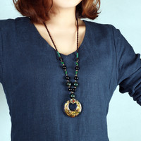 CNANIYA Glass Beads Stone Necklaces Long Adjustable Necklace For Women Collier Ethnique/Bijoux Pierre Naturelle/Colier Femme