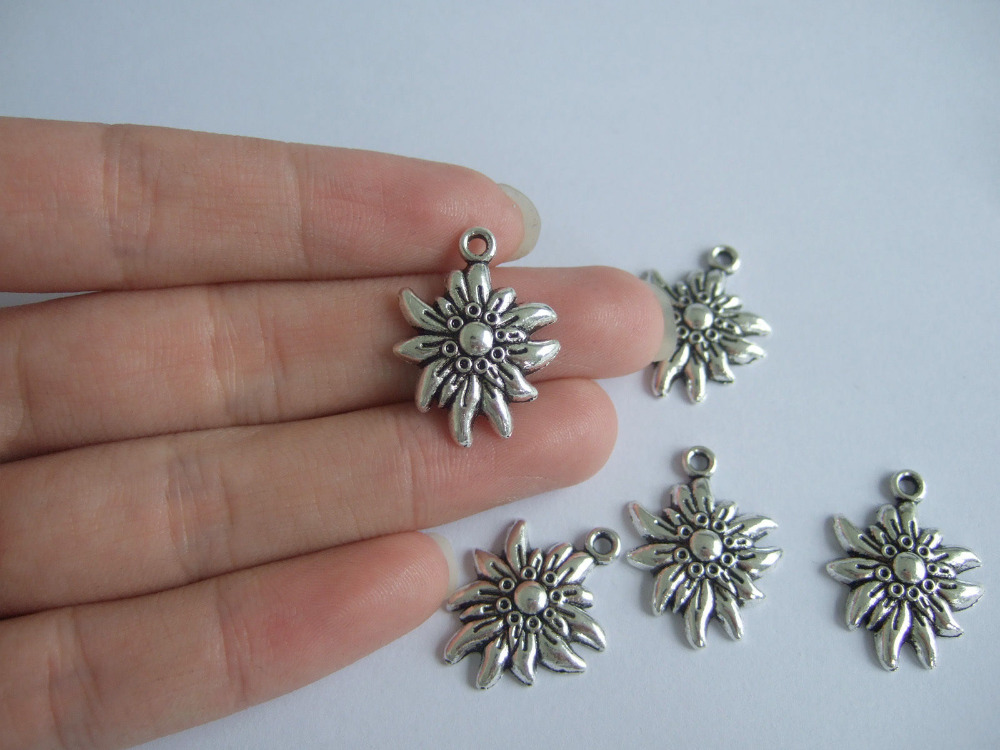 wholesale Lot 30Pcs Antique Silver Edelweiss Flower Charms Pendants Beads For Jewelry Making Findings 25x19mm