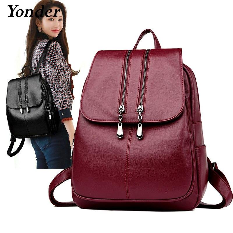 Yonder 2019 sac à dos en cuir pour femmes sac à dos de haute qualité solide décontracté femme sac à dos sac cartable en cuir sac à dos pour les femmes