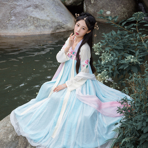 Image 3 - Hanfu Chinese Dance Costume Traditional Stage Outfit For Singers Women Ancient Dress Folk Festival Performance Clothing DC1133