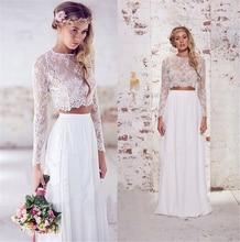 9011 Lace Bridal Wedding font b Dresses b font Gown White Ivory 2016 two piece Bride