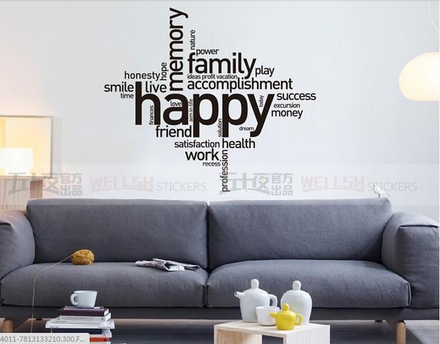 Rodzina Vinyl Kalkomania ścienna Happy Family Pracy Cytat Napis