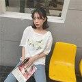 Primavera verão Fresco Bordado Flor Moda Bonito Algodão de Manga Curta Camisetas Femininas