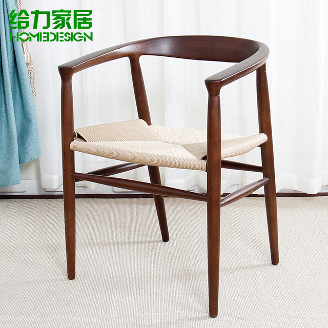 Nordic IKEA Chairs Wooden Chairs Cafe Chairs Wood Chairs With Armrests  Simple Solid Wood Ash