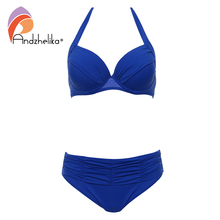 AndzheliKa New Sexy Plus Size Swimwear Women Bikini Push Up Bikini Swimsuit Halter Bikini Set Vintage Retro Bathing Suit Black