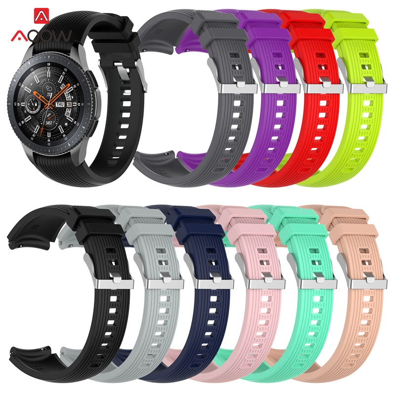22mm Silicone Watch Strap For Samsung Galaxy Watch 46mm Version Pink Black Striped Bracelet Band Strap For SM-R800 Gear Sport