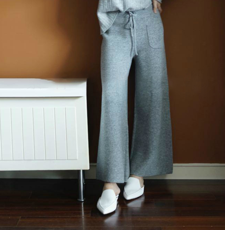 New Style High Quality Autumn Winter Women Cashmere Wool Wide Leg Pants Warm Solid Fashion Casual