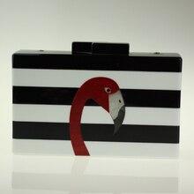 2017 neue Flamingo Abend-handtasche Schwarz Weiß Gestreiften Acryl Kupplung Frauen Goldene Kette Handtasche Berühmte Marke Mini Box Clutch