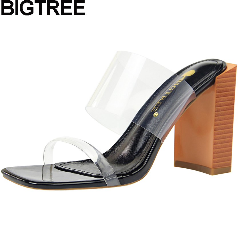 Detail Feedback Questions about BIGTREE 2018 Summer Women Slides PVC Clear  Sandals Square Open Toe High Heels Transparent Strap Mule Wood Print Thick  Heel ... c85b828aa95f