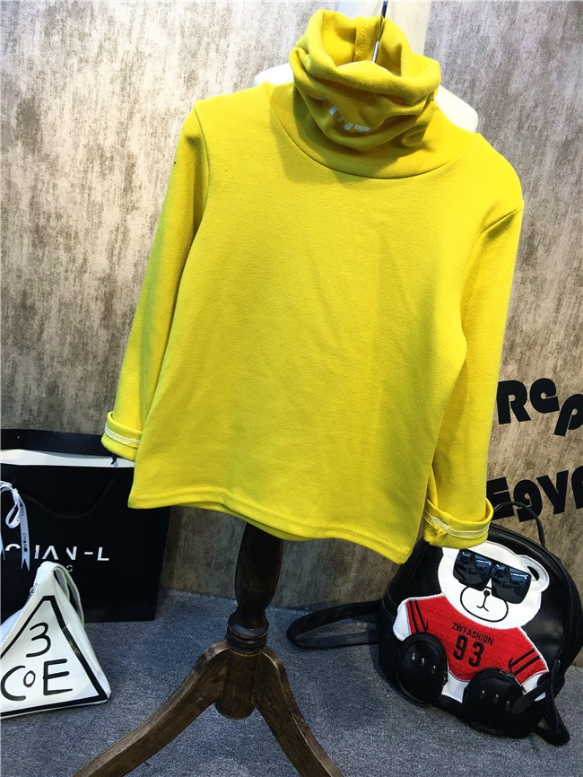Children girls and boys candy color turtleneck bottoming t shirt (1)