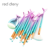 Make Up Foundation Eyebrow Eyeliner Blush Cosmetic Concealer Brushes 7-15pcs Mermaid Fish Tail Makeup Brushes pinceis sereia