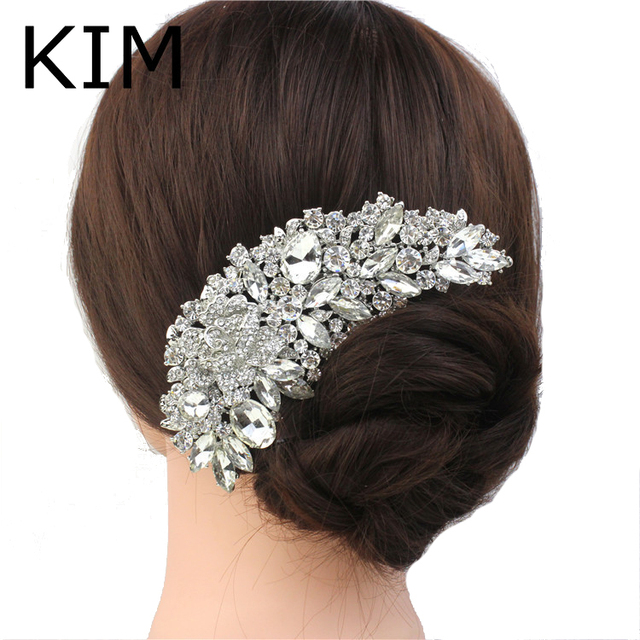 Rhinestone Crystals Comb Clear Flower Hair Comb for Wedding Women Jewelry Hair A