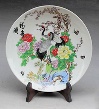 Exquisite Chinese Handmade  Archaistic Famille Rose Porcelain Plate Painted With Double Cranes and Flowers цена и фото