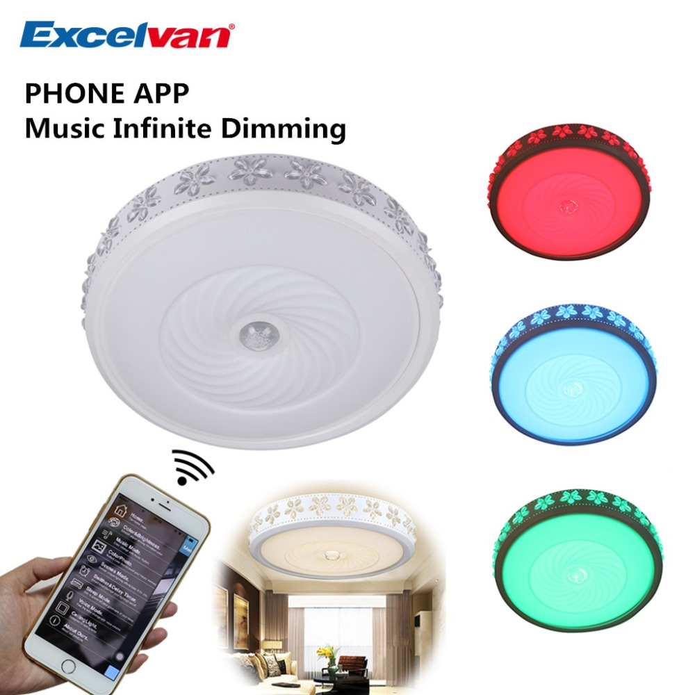 Aliexpress : Buy Excelvan 38w Round Ceiling Lights With Wifi Music  Infinite Dimming Control, 52*10cm Led Ceiling Lamps Suitable For Home Light  From