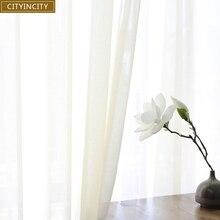 Мягкая Белая Тюлевая занавеска для гостиной в японском стиле, прозрачная оконная занавеска из вуали для спальни, столовой, на заказ