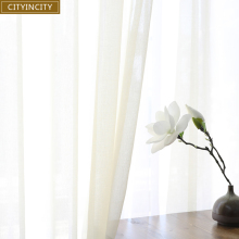 CITYINCITY  Soft White Tulle Curtains For Living room Japan style Voile Sheer Window Curtain for bedroom Dinning Customized