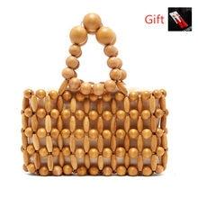 225cf8fee6 IMYOK nouveau sac en bambou femmes petites perles en bois vacances d'été  haute qualité femme plage fourre-tout sac mode casual s.