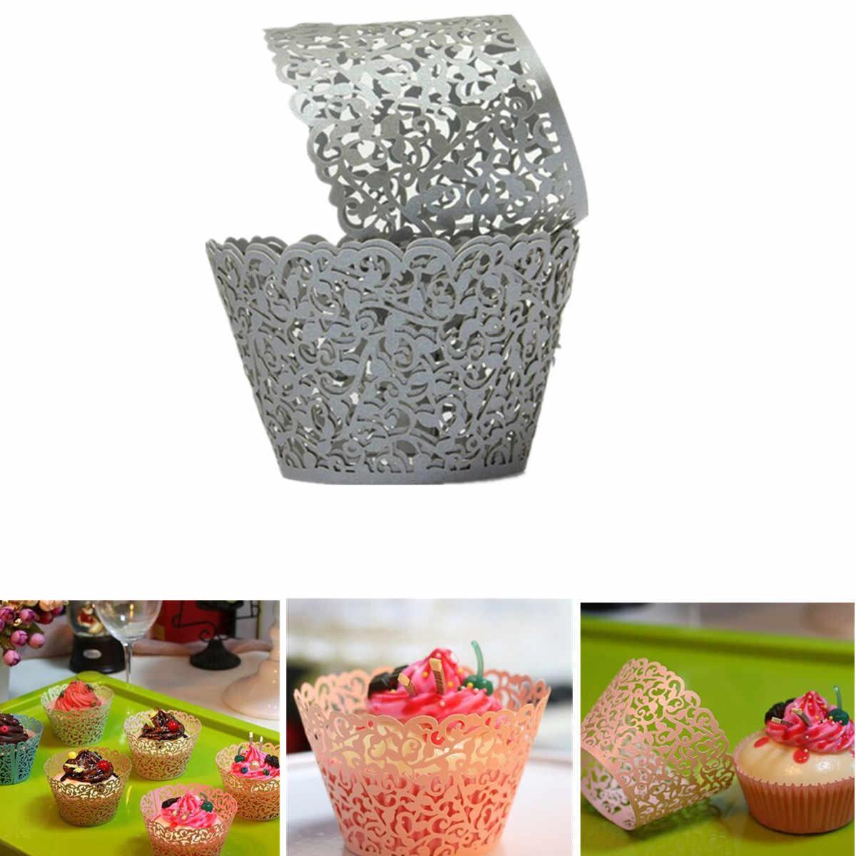 50 шт кружевная лазерная резка обертка для кексов форма для выпечки чашки DIY для выпечки фонданта кекс одежда для свадьбы, дня рождения Рождественское украшение
