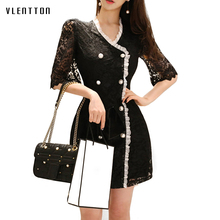 Sexy dress Female Spring summer 2019 new fashion Double-breasted package hip mini bodycon dress V-Neck Lace black dress women