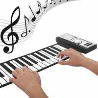 Flexible 61 Keys Musical Keyboard Electric Silicon Piano Professional Piano Roll-up Keyboard Piano Sound Sustainable Toys WJ122